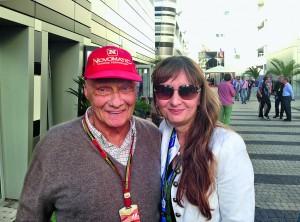 Izabella Andrianova und Niki Lauda, dreifacher Formel-1-Weltmeister.
