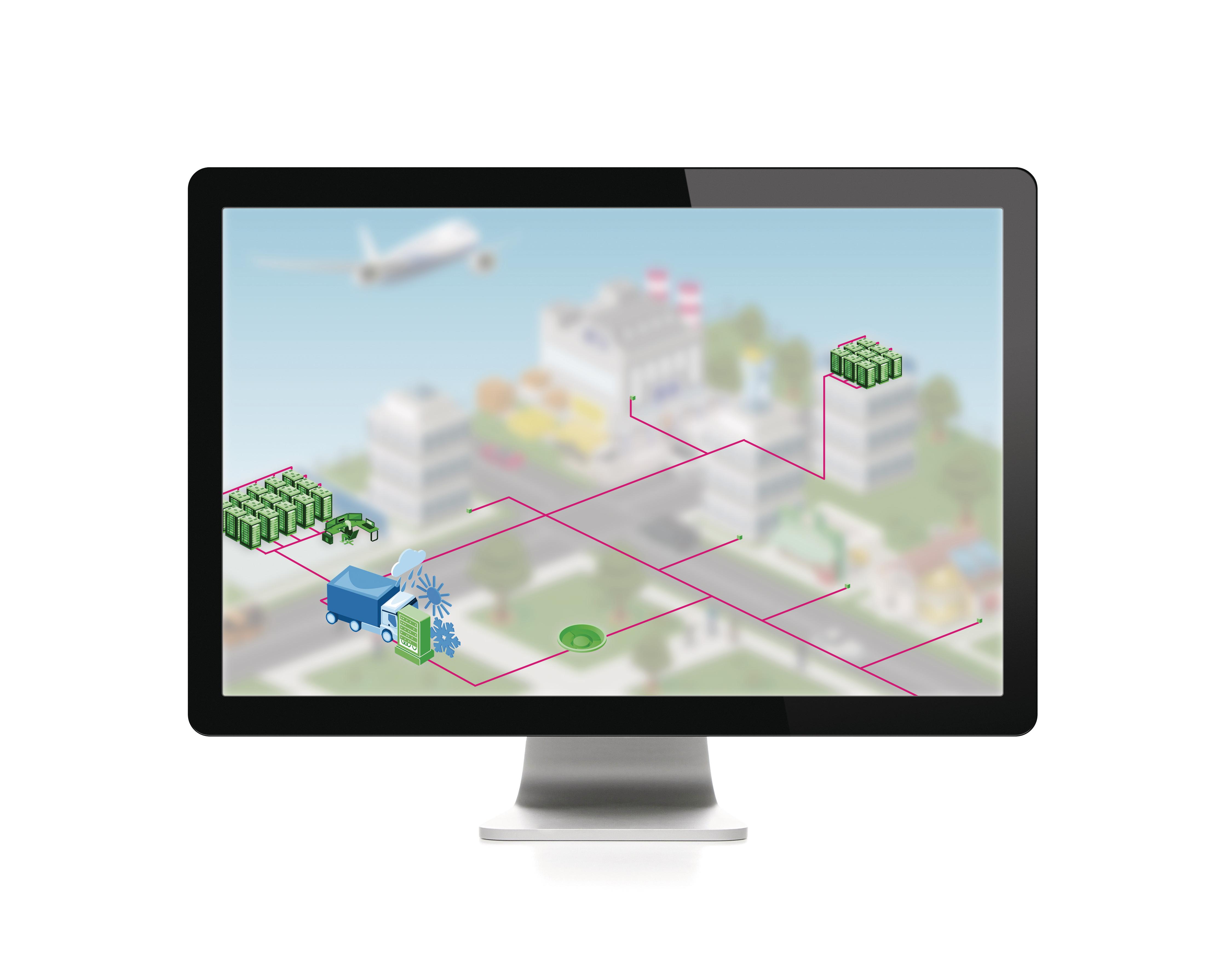 Digitales Abbild, um die Erfassung der Umwelteinflüsse erweitert.