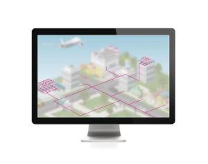 Imagen digital de la red y la infraestructura de red limitada a la representación de la conectividad.